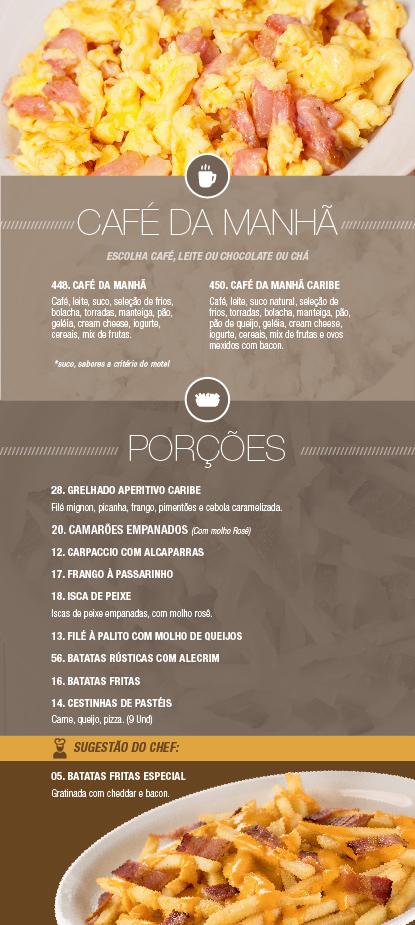 Caribe Motel um dos melhores motéis de São Paulo. Conheça nosso cardápio de café da manhã & porções.