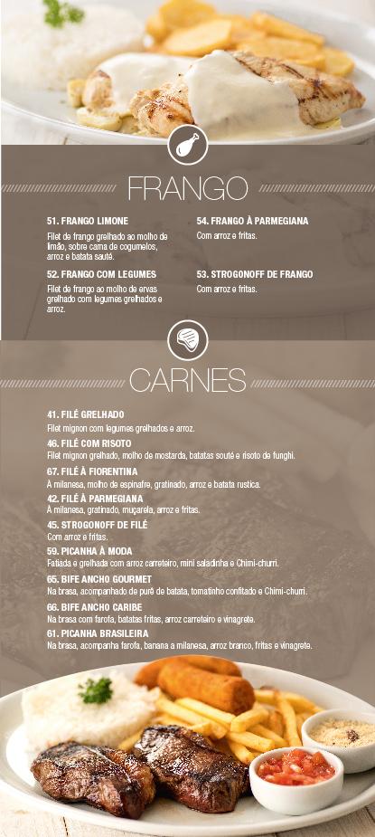 Caribe Motel um dos melhores motéis de São Paulo. Conheça nosso cardápio de frangos & carnes.