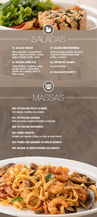 Caribe Motel um dos melhores motéis de São Paulo. Conheça nosso cardápio de saladas & massas.