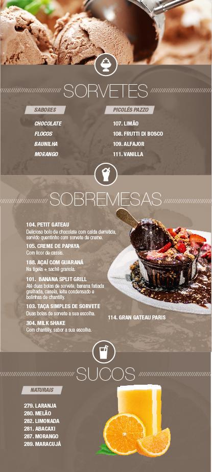 Caribe Motel um dos melhores motéis de São Paulo. Conheça nosso cardápio de sobremesas, sorvetes & sucos.